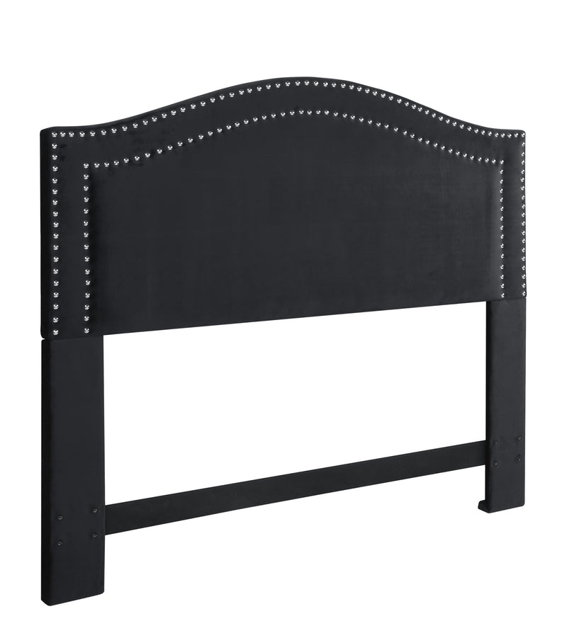 Iconic Home Tal Headboard Velvet Upholstered Double Row Nailhead Trim Black