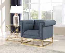Iconic Home Palmira Penelope Cassandra Gloria Paloma Button Tufted Rolled Arm Accent Club Chair Blue Main Image