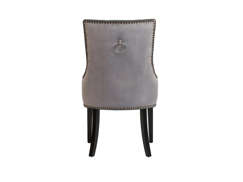 Iconic Home Cadence Button Tufted PU Leather Velvet Wood Legs Dining Side Chair Grey (Set of 2)