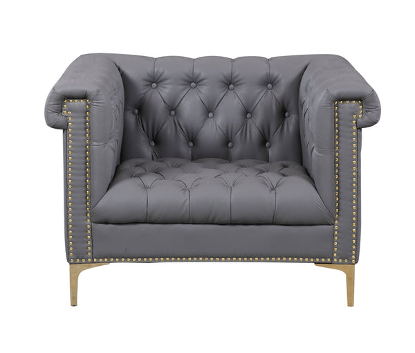 Iconic Home Winston PU Leather Button Tufted Nailhead Trim Metal Legs Accent Club Chair Grey