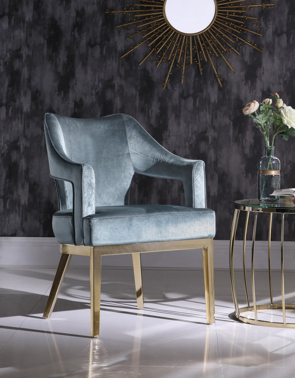 Iconic Home Gourdon Rangi Shri Danu Hebe Accent Chair Plush Velvet Upholstered Swoop Arm Gold Tone Solid Metal Legs Blue Main Image