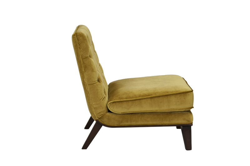 Iconic Home Achilles Armless Velvet Tufted Slipper Accent Club Chair Cognac