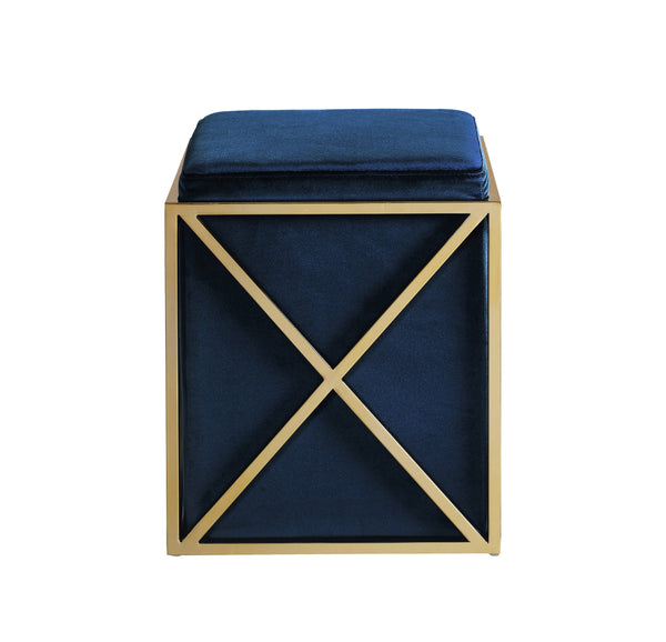 Iconic Home Vana Square Ottoman Velvet Upholstered Brass Finished Stainless Steel X Frame Navy