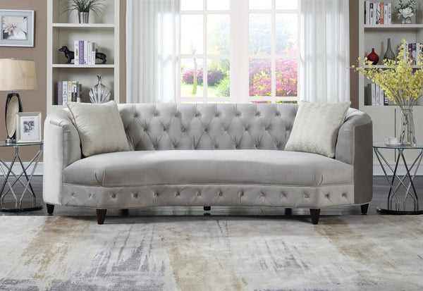 Iconic Home Leeba Aleah Sassa Tamika Vonna Velvet Button Tufted Club Sofa Grey Main Image