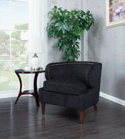 Iconic Home Vered Ymir Vlad Orlando Ezra Accent Club Chair Chenille Upholstered Nailhead Trim Wood Cone Legs Black Main Image