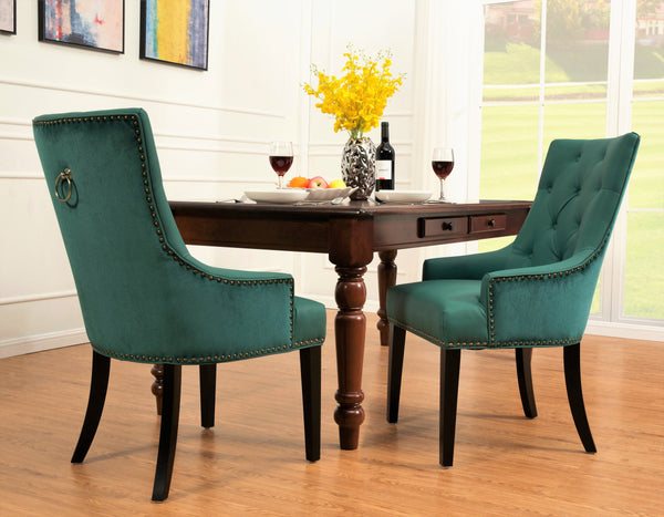 Iconic Home Cadence Linus Gideon Gilbert Renaud Button Tufted PU Leather Velvet Nailhead Trim Espresso Wood Legs Dining Side Chair (Set of 2) Green Main Image