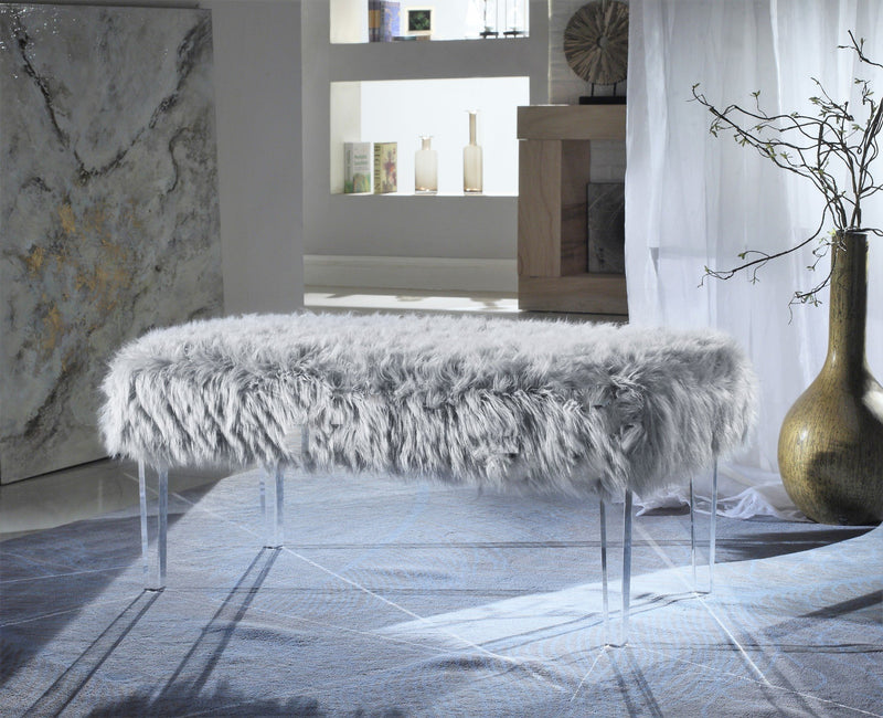 Iconic Home Trento Matteo Alessandro Samuel Diego Faux Fur Bench Acrylic Legs Ottoman Grey Main Image