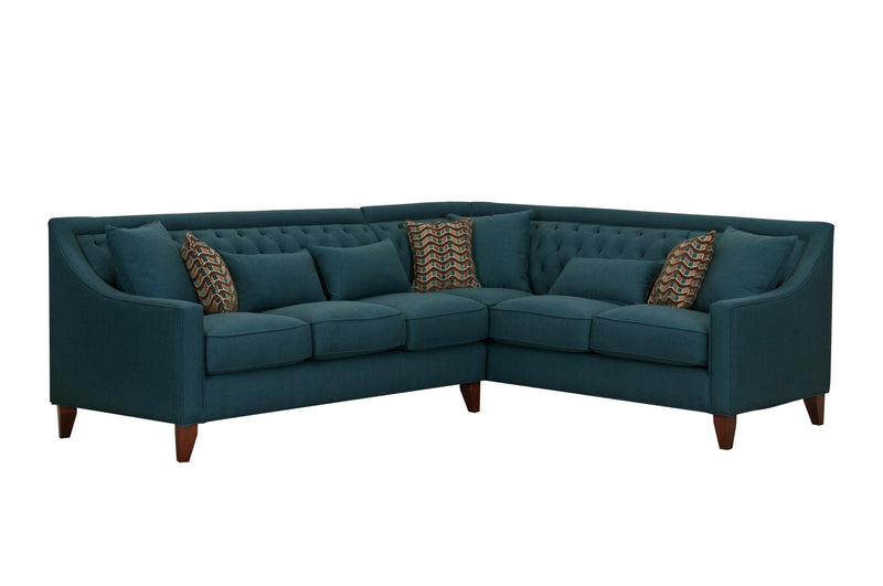 Iconic Home Aberdeen Linen Tufted Right Facing Sectional Sofa Teal