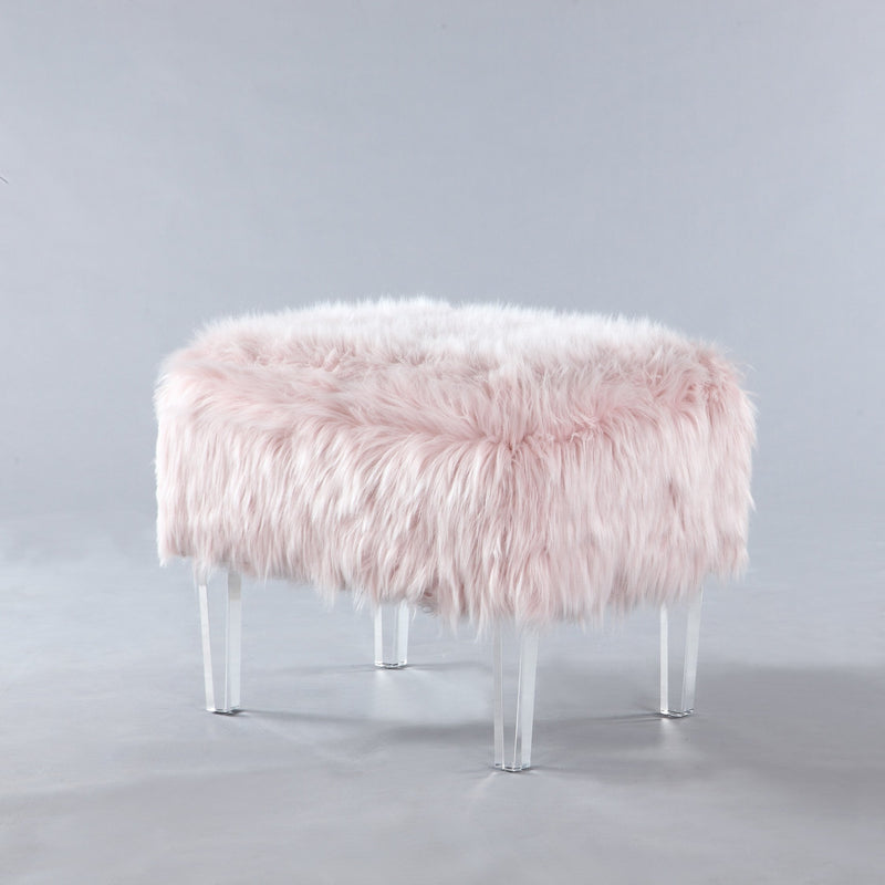 Iconic Home Fiorino Faux Fur Ottoman Acrylic Legs Bench Pink