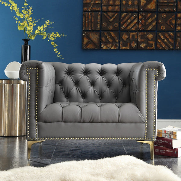 Iconic Home Winston Dwight MacArthur Patton Custer PU Leather Button Tufted Accent Club Chair Grey Main Image