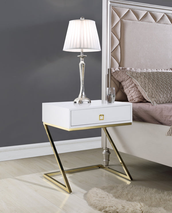 "Iconic Home Cordoba Juan Alonso Francisco Gonzalo Nightstand Side Table Self Closing Drawer Brass Finished Metal ""Z"" Frame White Main Image"