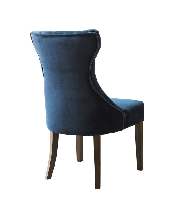 Iconic Home Dickens Dining Side Chair Button Tufted Velvet Espresso Wood Legs Ice Blue (Set of 2)