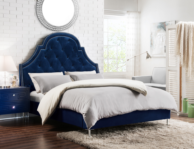 Iconic Home Napoleon Alexander Arthur Constantine Nero Bed Frame with Wingback Headboard Button Tufted Velvet Upholstered Navy Main Image