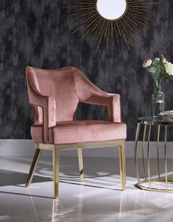 Iconic Home Gourdon Rangi Shri Danu Hebe Accent Chair Plush Velvet Upholstered Swoop Arm Gold Tone Solid Metal Legs Brick Main Image