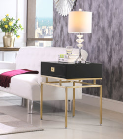 Iconic Home Genoa Neptune Rosso Banchi Neri Side Table Nightstand Brass Base Solid Frame Self Close Drawer Black Main Image