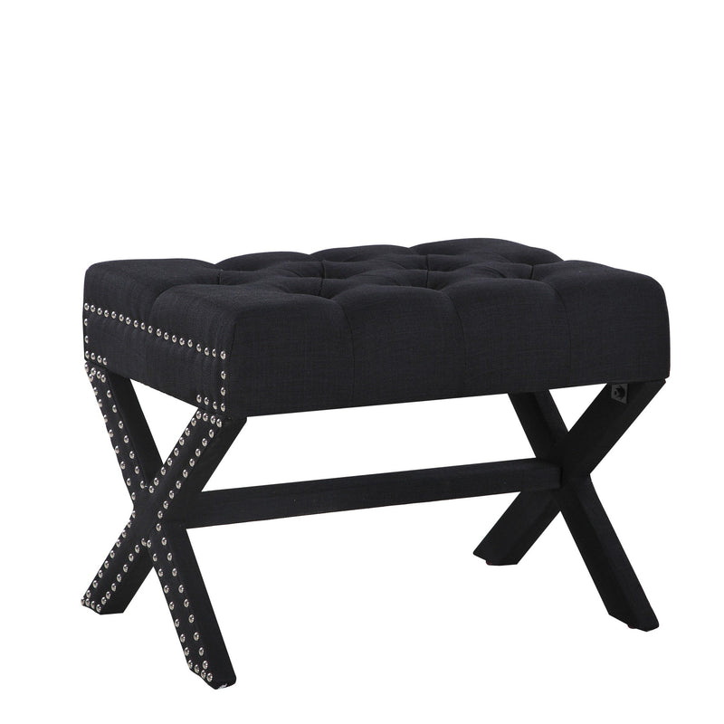 Iconic Home Paige Ottoman X Frame Nailhead Trim Linen Tufted Bench Black