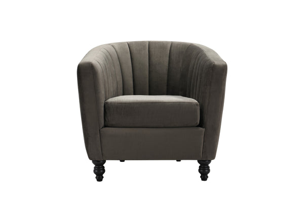Iconic Home Riviera Accent Chair Velvet Upholstered Channel Quilted Turned Espresso Wood Legs Grey