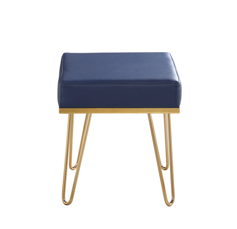 Iconic Home Catania Square Ottoman PU Leather Brass Finished Solid Metal Frame Hairpin Legs Navy