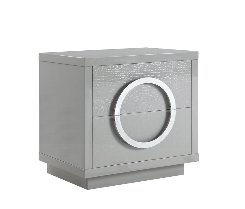 Iconic Home Sorrento Side Table Nightstand Crocodile Lacquer Finish 2 Self Closing Drawers Grey