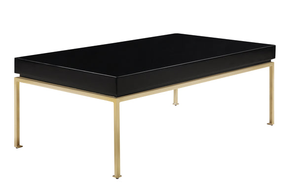 Iconic Home Alcee Center Coffee Table High Gloss Lacquer Top Gold Plated Solid Metal Legs Black