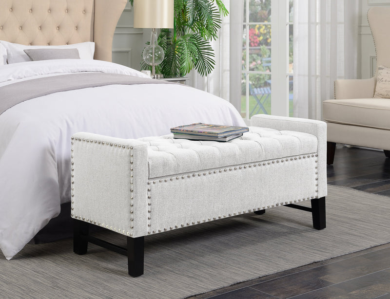 Iconic Home Lance Jesse Michael Federick Darren Storage Bench Button Tufted Linen Upholstered Ottoman Cream Main Image