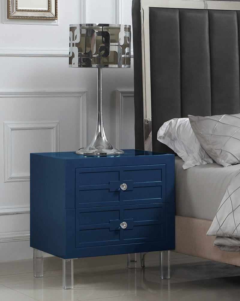 Iconic Home Naples Pompeii Assisi Lucca Amalfi Side Table Nightstand Self Closing Drawers Lacquer Finish Acrylic Legs Navy Main Image
