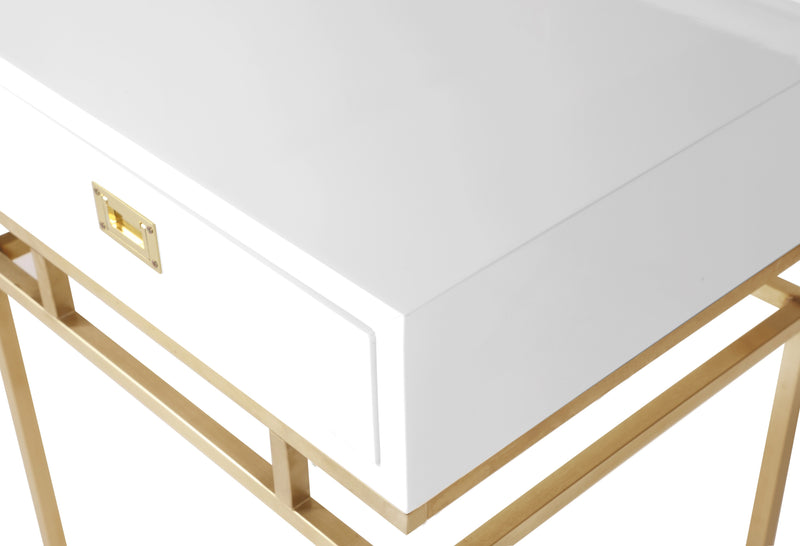 Iconic Home Genoa Side Table Nightstand Brass Base Solid Frame Self Close Drawer White