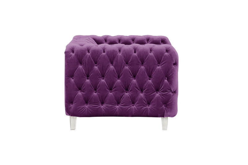 Iconic Home Syracus Tufted Velvet Plush Accent Club Chair Purple
