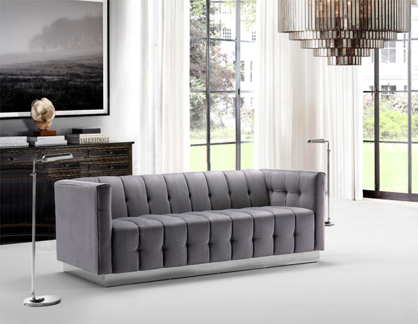 Iconic Home Primavera Navin Vesna Aviv Willow Sofa Button Tufted Velvet Upholstered Gold Tone Metal Base Grey Main Image
