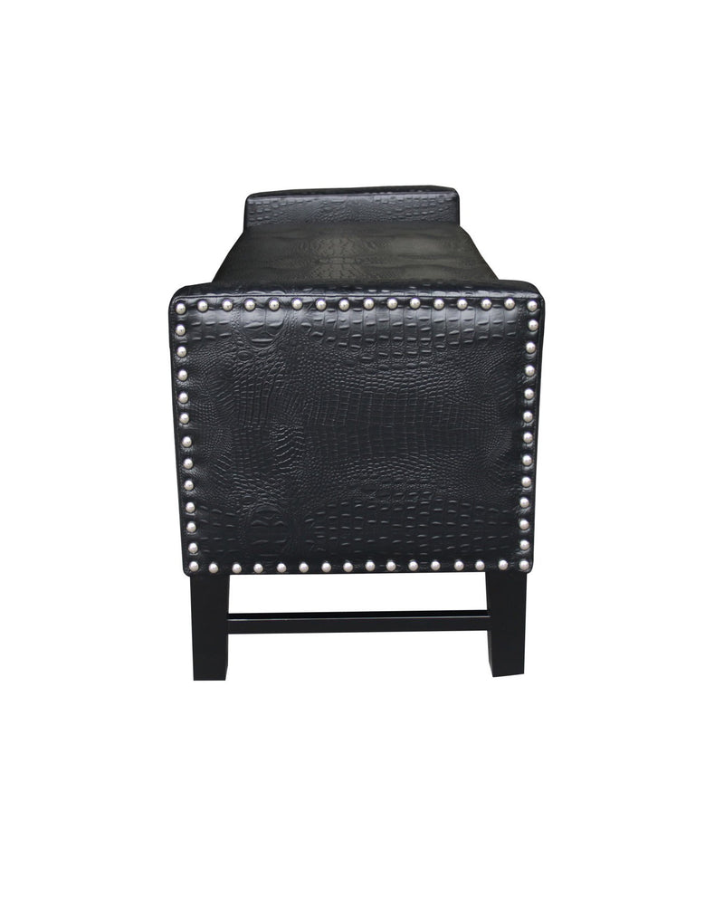 Iconic Home Archer Storage Bench Crocodile Stamped PU Leather Upholstered Espresso Legs Bench Black