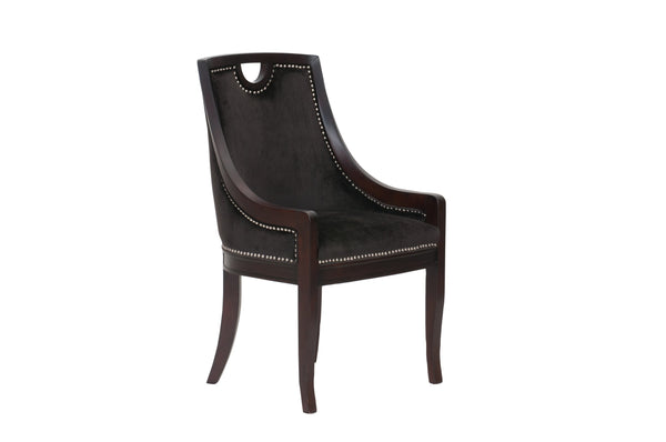 Iconic Home Owen Dining Side Chair Velvet Upholstered Nailhead Trim Wood Frame Black (Set of 1)