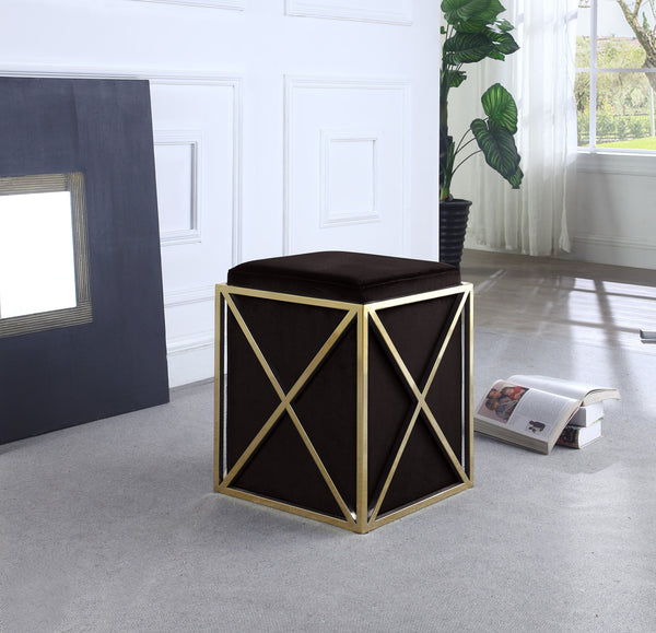 Iconic Home Vana Genesis Aalfa Zeleeka Dawn Square Ottoman Velvet Upholstered Brass Finished Stainless Steel X Frame Black Main Image