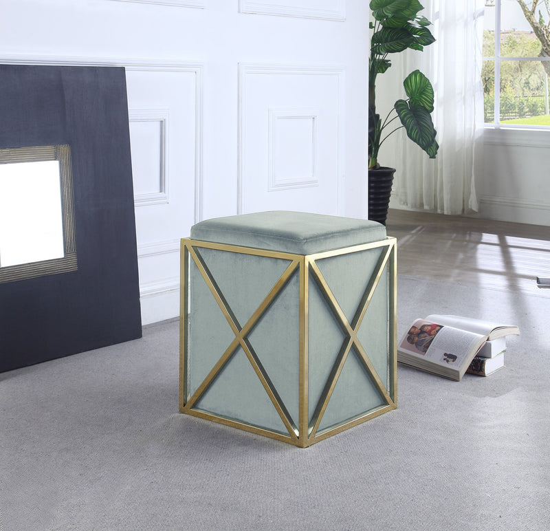 Iconic Home Vana Genesis Aalfa Zeleeka Dawn Square Ottoman Velvet Upholstered Brass Finished Stainless Steel X Frame Grey Main Image