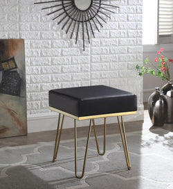 Iconic Home Catania Catheau Catharin Catha Caitlin Square Ottoman PU Leather Upholstered Brass Finished Frame Hairpin Legs Black Main Image