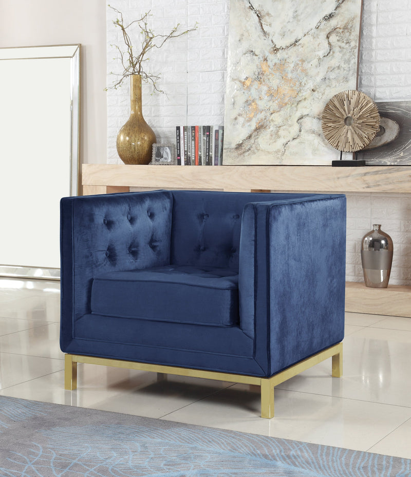 Iconic Home Dafna Anina Vigan Evie Tamara Club Chair Tufted Velvet Brass Finished Stainless Steel Brushed Metal Frame Navy Main Image