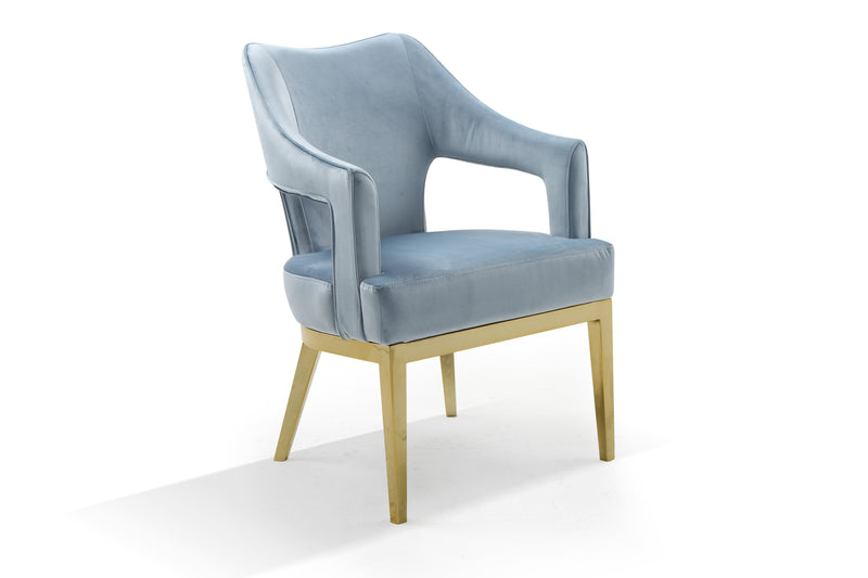 Iconic Home Gourdon Accent Chair Plush Velvet Upholstered Swoop Arm Gold Tone Solid Metal Legs Blue