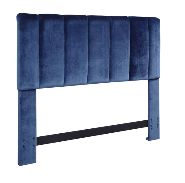 Iconic Home Uriella Headboard Velvet Upholstered Vertical Striped Navy