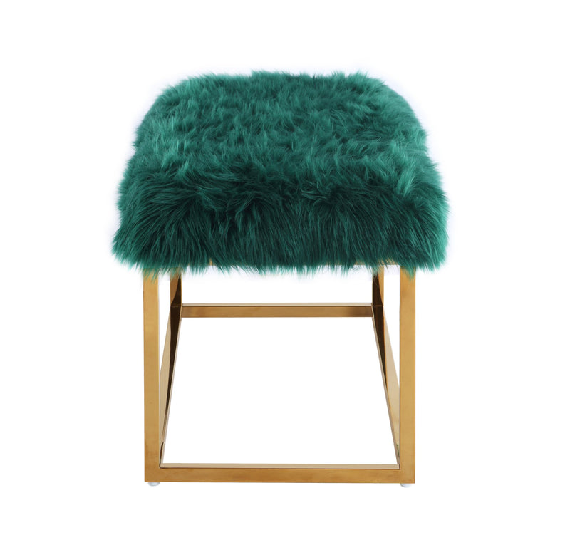 Iconic Home Marilyn Faux Fur High Polish Metal Frame Ottoman Bench Green