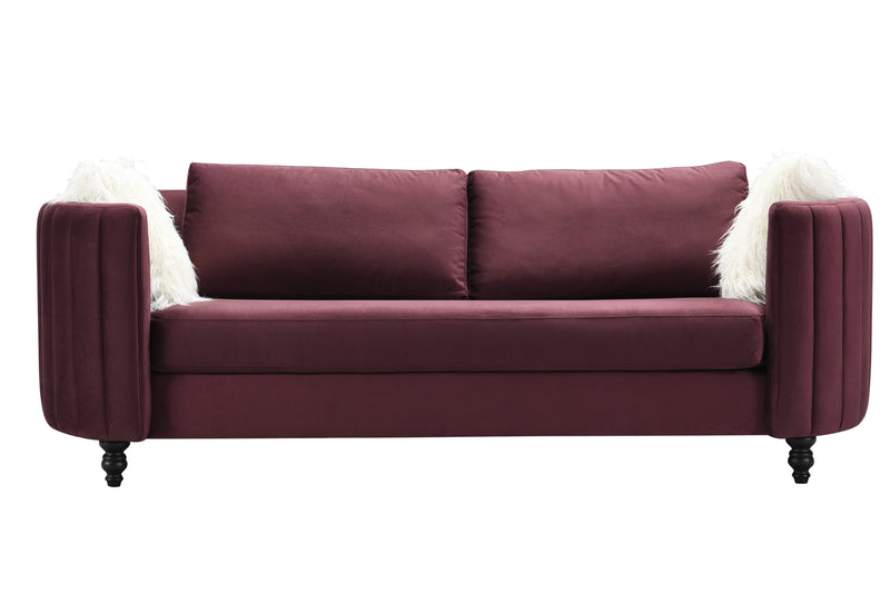 Iconic Home Riviera Sofa Velvet Upholstered Channel Quilted Espresso Finished Wood Legs Purple