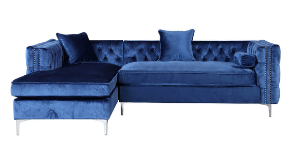 Iconic Home Da Vinci Button Tufted Velvet Left Facing Chaise Sectional Sofa Navy
