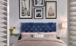 Iconic Home Rivka Ajax Clytia Emer Helena Headboard Velvet Upholstered Diamond Button Tufted Navy Main Image