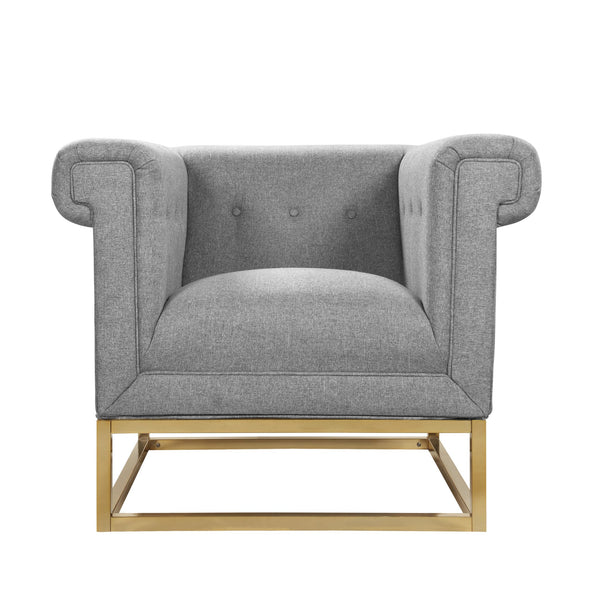 Iconic Home Palmira Button Tufted Rolled Arm Accent Club Chair Grey