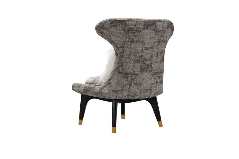 Iconic Home Chateau Accent Chair Two-Tone Textured Fabric Wingback Design Gold Tip Wood Legs Brown