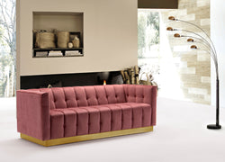 Iconic Home Primavera Navin Vesna Aviv Willow Sofa Button Tufted Velvet Upholstered Gold Tone Metal Base Rose Main Image