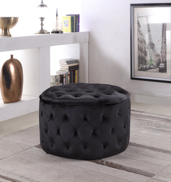 Iconic Home Batya Emma Shiloh Adna Mahlah Ottoman Button Tufted Velvet Upholstered Round Pouf Black Main Image