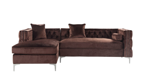 Iconic Home Da Vinci Button Tufted Velvet Left Facing Chaise Sectional Sofa Brown