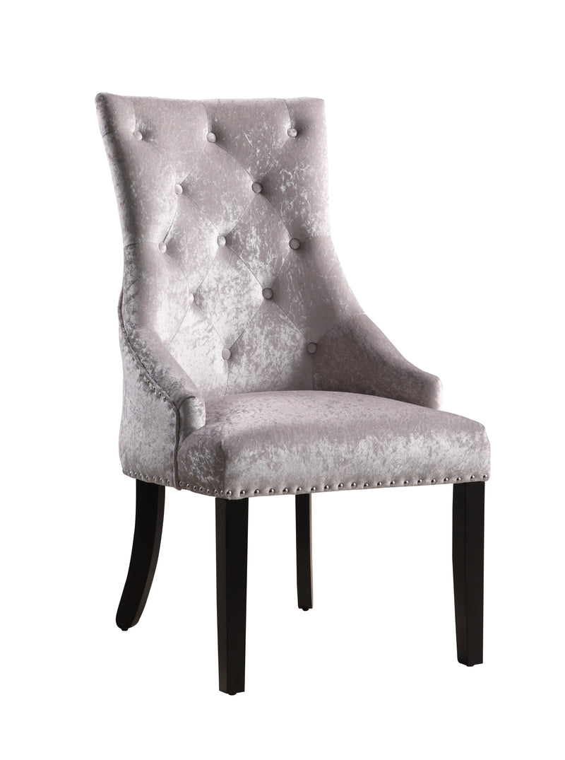 Iconic Home Raizel Dining Chair Velvet Upholstered Nail Head Trim Espresso Wood Legs Grey Set of 2