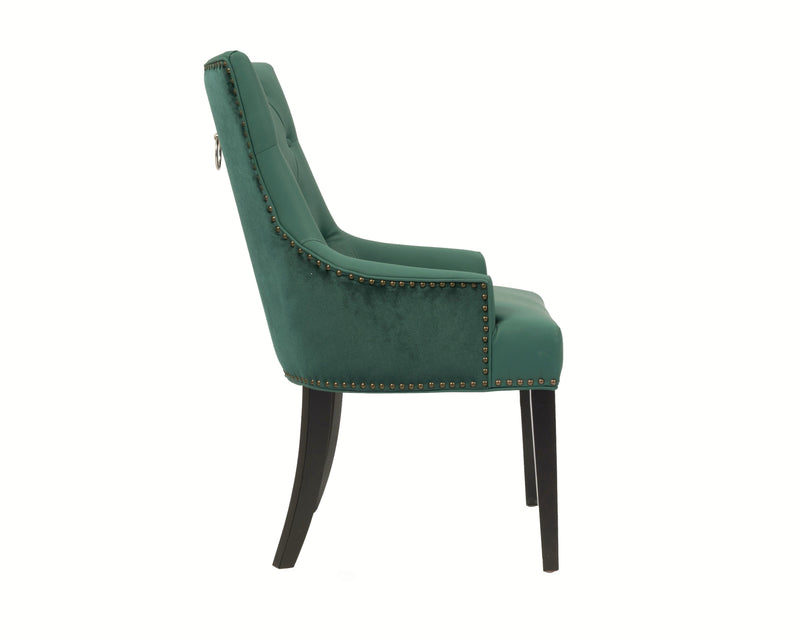Iconic Home Cadence Button Tufted PU Leather Velvet Wood Legs Dining Side Chair Green (Set of 2)