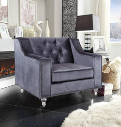 Iconic Home Dylan Presley Stewart Berry Dale Velvet Button Tufted Accent Club Chair Grey Main Image