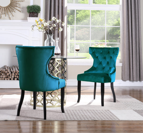 Iconic Home Naomi Jove Maia Pixie Sirius Dining Chair Button Tufted Velvet Upholstered Espresso Wood Legs Teal (Set of 2) Main Image